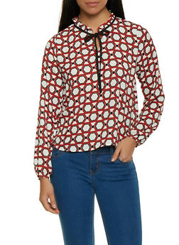 Geometric Print Tie Neck Blouse - 1401054214786
