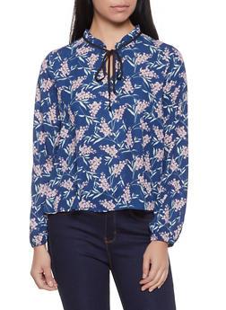 Floral Tie Neck Blouse - 1401054214787