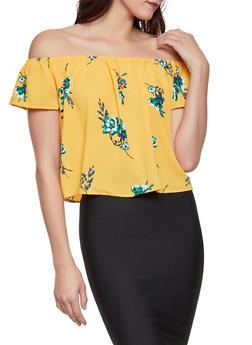Floral Crepe Knit Off the Shoulder Top - 1401054215570