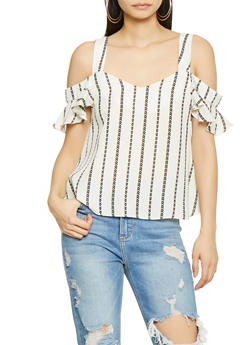 Chevron Striped Off the Shoulder Top - 1401054216725