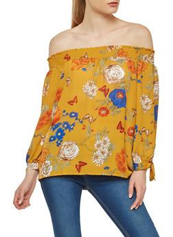 Floral Off the Shoulder Tie Sleeve Top - 1401054217583