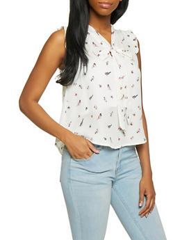 Bird Print Tie Neck Blouse - 1401054218758