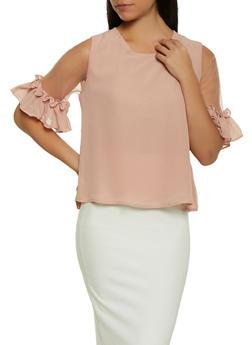 Mesh Bell Sleeve Blouse - 1401062702333