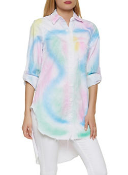 Tie Dye High Low Button Front Shirt - 1401063402809