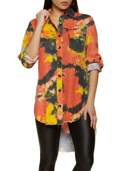 Button Front Tie Dye High Low Shirt - 1401063404228
