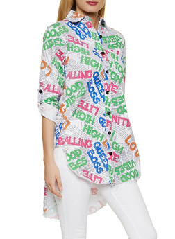 Graphic High Low Button Front Shirt - 1401063404803