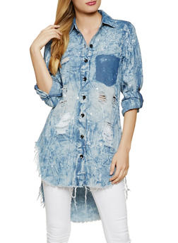 Paint Splatter Distressed Button Front Shirt - 1401063405899