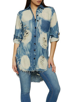 Frayed Tie Dye High Low Shirt - 1401063406432