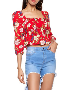 Smocked Ruffle Floral Top - 1401066493392