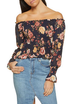 Smocked Floral Off the Shoulder Top - 1401066493616