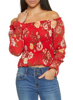 Smocked Floral Off the Shoulder Top - 1401066493616