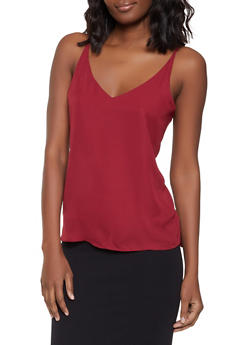 Solid V Neck Cami - 1401068196153