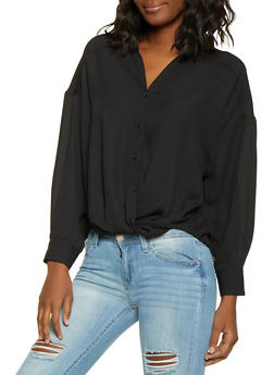 Twist Front Button Front Shirt - 1401068197154