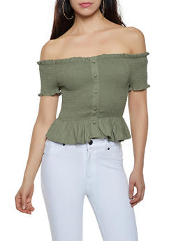 Smocked Off the Shoulder Button Detail Top - 1401069390012