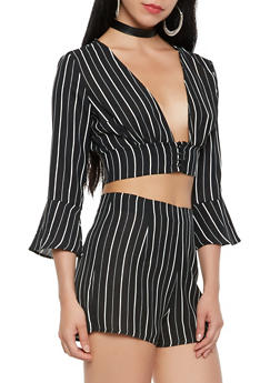Striped Plunge Crop Top - 1401069390099