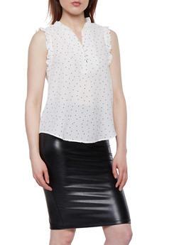 Polka Dot Crepe Knit Top - 1401069390120