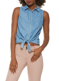 Sleeveless Chambray Tie Front Shirt - 1401069390121