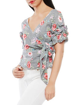 Floral Gingham Faux Wrap Top - 1401069390127