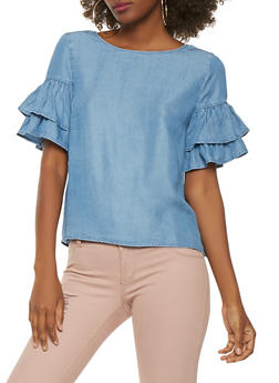 Tiered Sleeve Chambray Top - 1401069390133