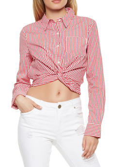 Twist Front Gingham Button Front Top - 1401069390137