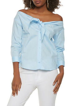 Off the Shoulder Tie Front Top - 1401069390140