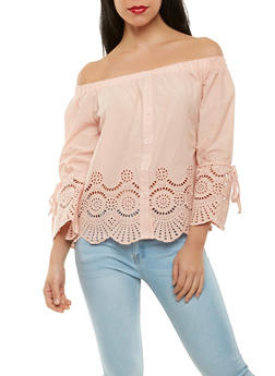 Eyelet Off the Shoulder Top - 1401069390169