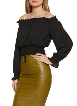 Off the Shoulder Lace Up Smocked Waist Top - 1401069390192