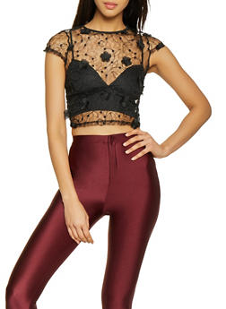 Floral Embroidered Mesh Crop Top - 1401069390287