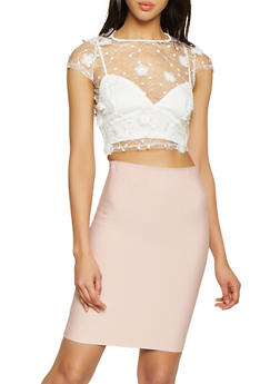 db697456f1d4b Floral Embroidered Mesh Crop Top - 1401069390287