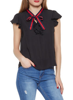 Ruffled Tie Neck Blouse - 1401069390619