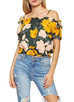 Floral Off the Shoulder Crop Top - 1401069390669