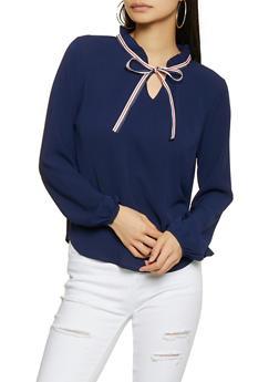 Tie Neck Crepe Knit Blouse - 1401069390743