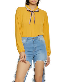 Tie Neck Crepe Knit Blouse - 1401069390743