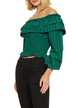 Tiered Ruffle Off the Shoulder Striped Top - 1401069390750