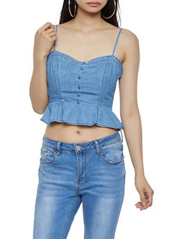 Ruffle Hem Chambray Crop Top - 1401069390765