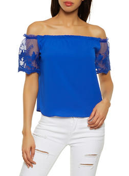 Crochet Mesh Sleeve Off the Shoulder Top - 1401069390816