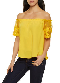 Crochet Mesh Sleeve Off the Shoulder Top - 1401069390816