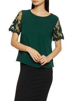 Crochet Mesh Sleeve Top - 1401069390880