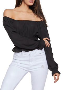 Smocked Waist Off the Shoulder Blouse - 1401069390906