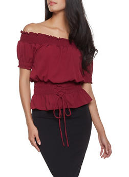 Off the Shoulder Lace Up Top - 1401069391003
