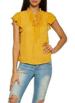 Lace Trim Tie Neck Top - 1401069391053
