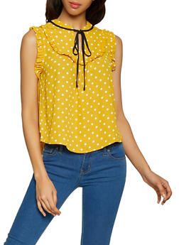 Ruffled Polka Dot Blouse - 1401069391063
