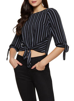 Tie Front Striped Crepe Knit Blouse - 1401069391164