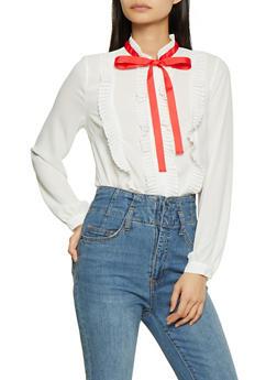 Pleated Ruffle Tie Neck Shirt - 1401069391178