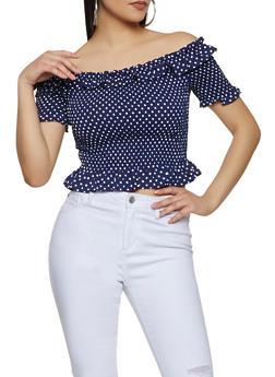 Polka Dot Smocked Off the Shoulder Crop Top - 1401069391204