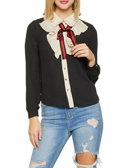 Pleated Tie Neck Button Front Shirt - 1401069391236
