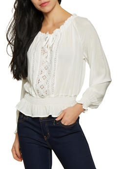 Crochet Front Off the Shoulder Top - 1401069391309