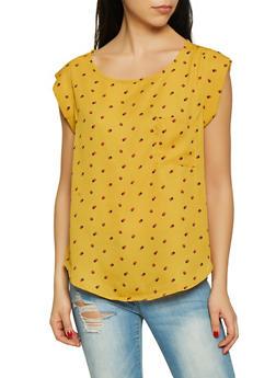 Polka Dot Cap Sleeve Blouse - 1401069391349