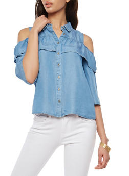 Ruffle Cold Shoulder Button Front Denim Top - 1401069391359