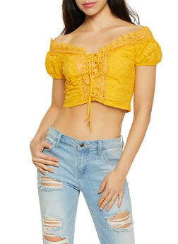 Lace Up Eyelet Crop Top - 1401069391365